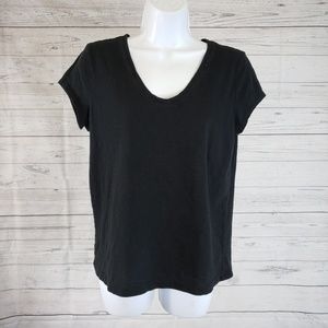 LOFT Sunwashed T Sz Large Solid Black Cotton